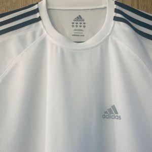 adidas Shirts - Adidas Crew neck pullover white Black stripes.